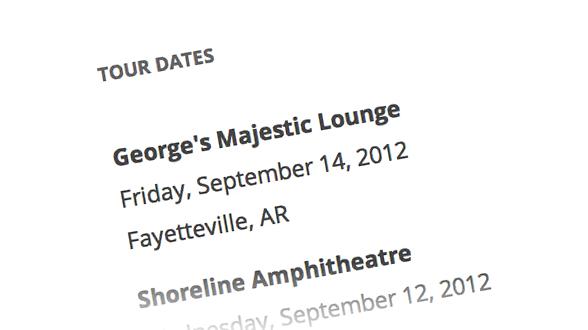 Dates de tournée
